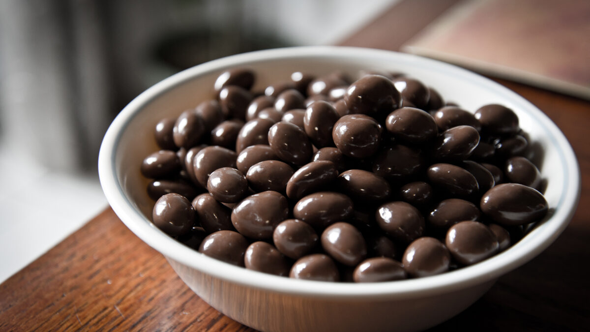 Bowl Of Chocolate Covered Dried Fruit