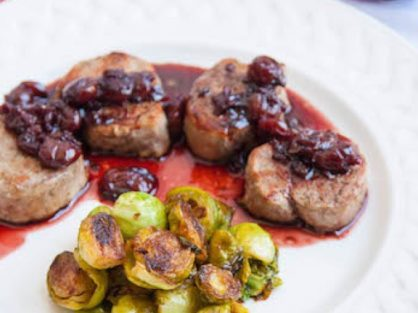 Pan Seared Pork Medallions With Tart Cherry Red Wine Reduction
