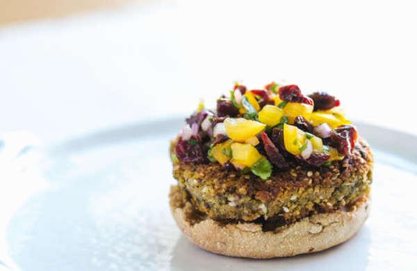 Veggie Burger With Cherry Salsa