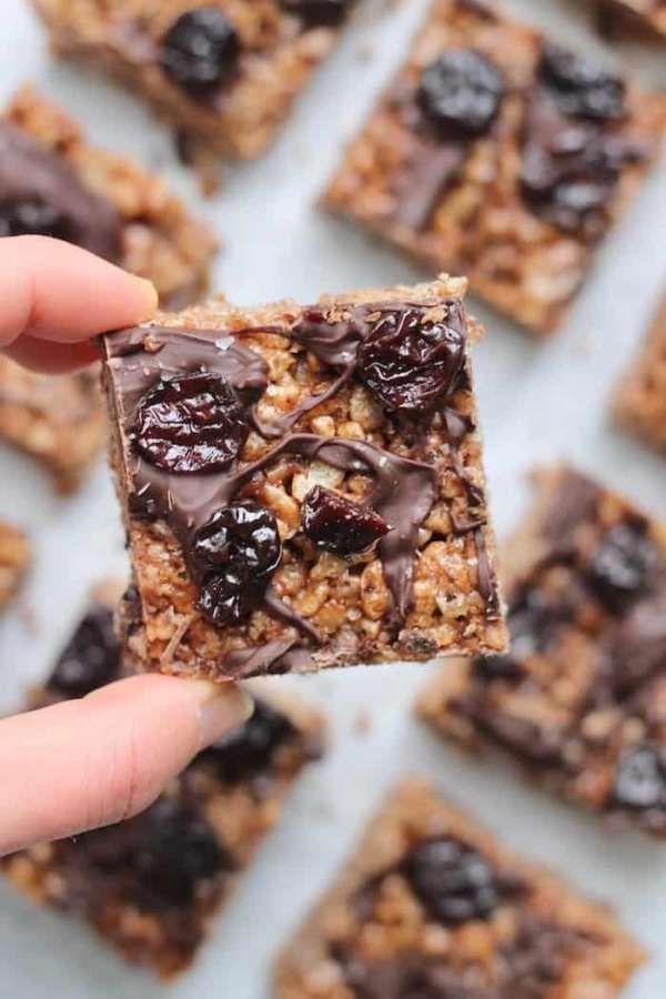 Chocolate covered tart cherry rice crispy treats 7