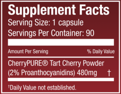 Tart Cherry Dietary Supplement Nutritional Panel