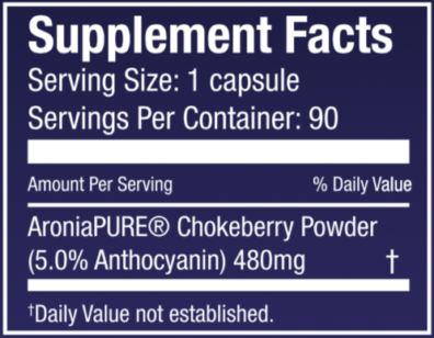 Aronia Berry Dietary Supplement Nutritional Panel
