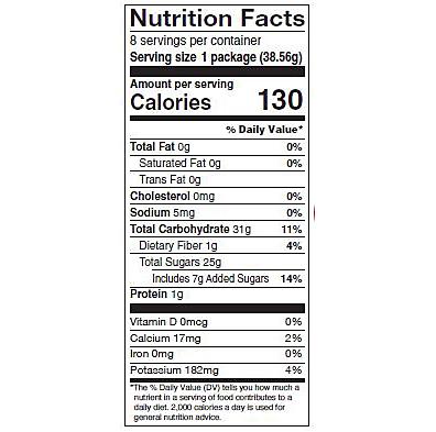 Tart cherry multipack nutrition panel
