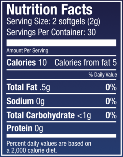 Wild Blueberry Softgel Nutritional Panel