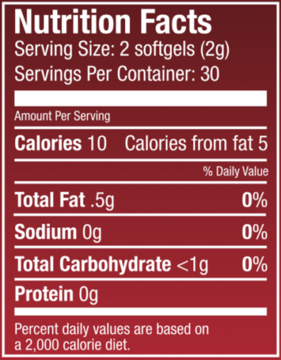 Tart Cherry Softgel Nutritional Panel