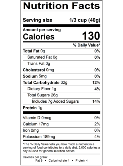 Dried Tart Cherries Nutritional Panel