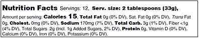 Spicy Cherry Salsa Nutritional Panel